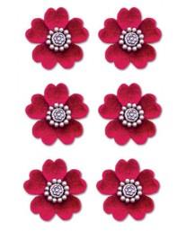 Red Velvet Floral Brads