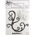 Elise Black Flourish White Flower
