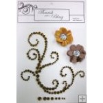Elise Brown Flourish Mustard & Brown Flowers