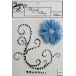 Elise Silver Flourish Blue Flower