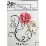 Elise Silver Flourish Pink & Cream Flowers